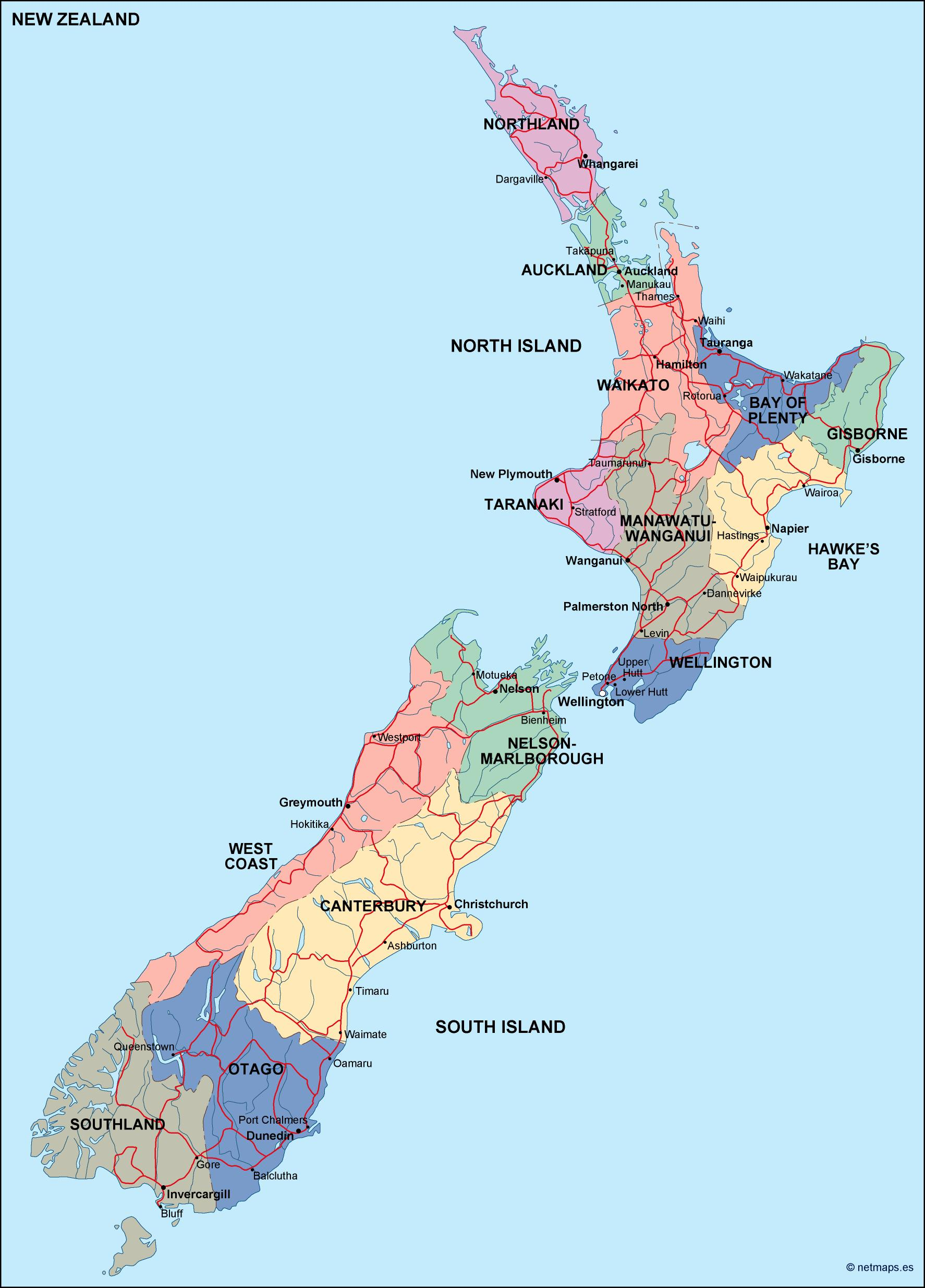 Political Map Of New Zealand.New Zealand Political Map