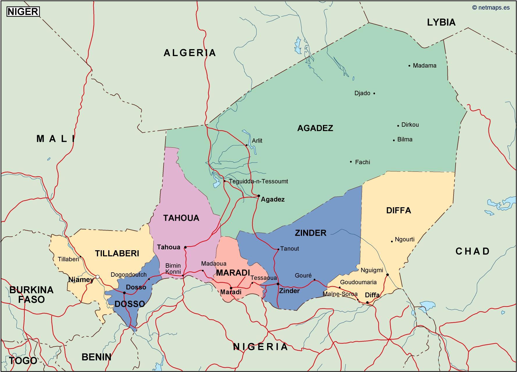 niger political map. Vector Eps maps. Eps Illustrator Map