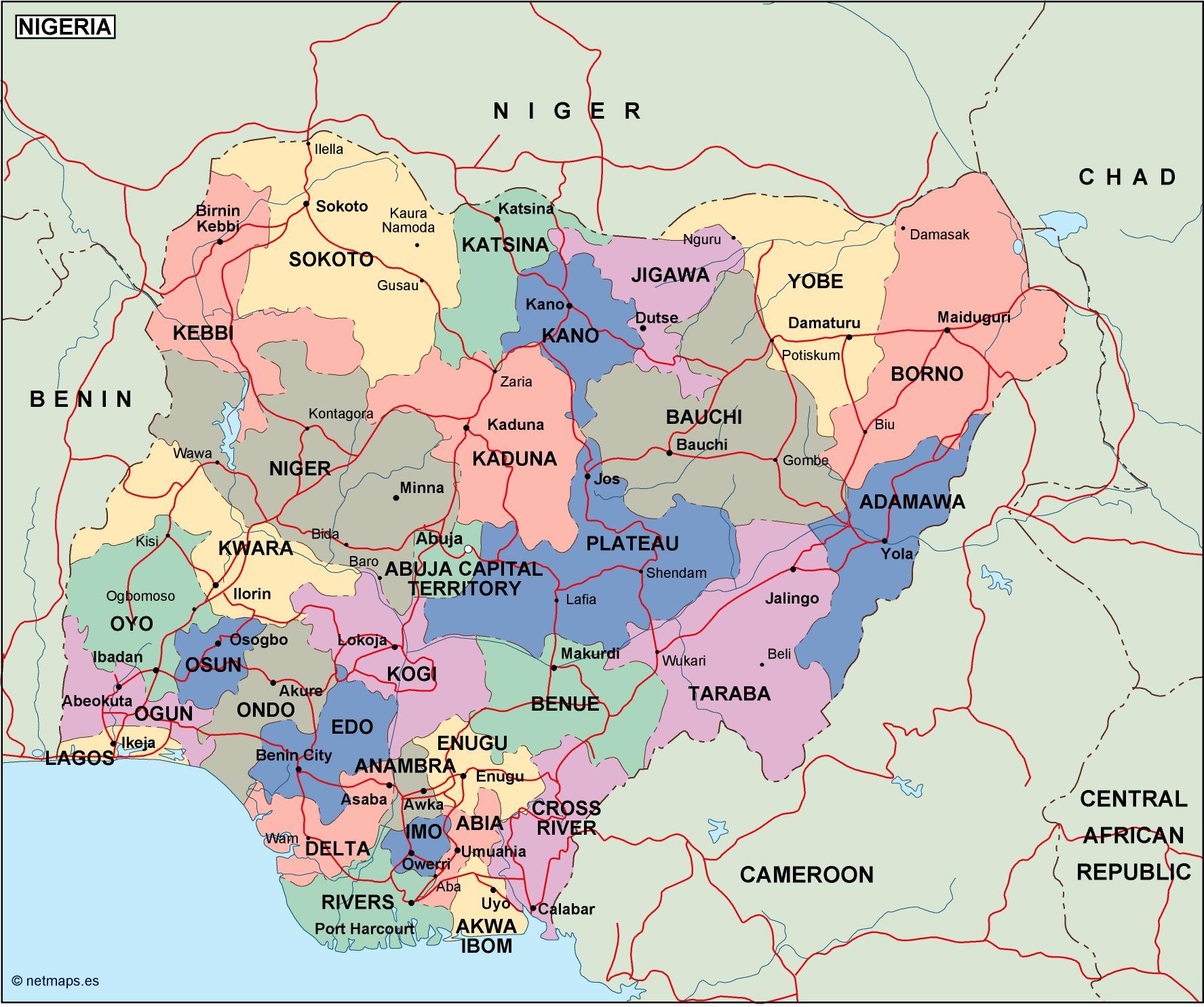 Map Of Africa Nigeria.Nigeria Political Map