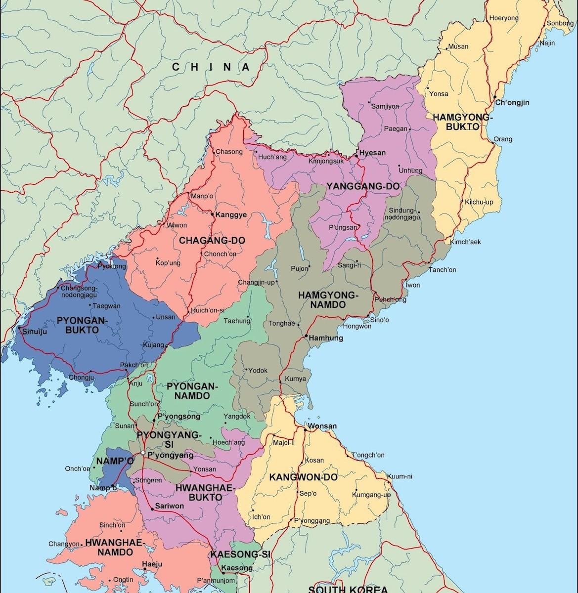 north korea political map