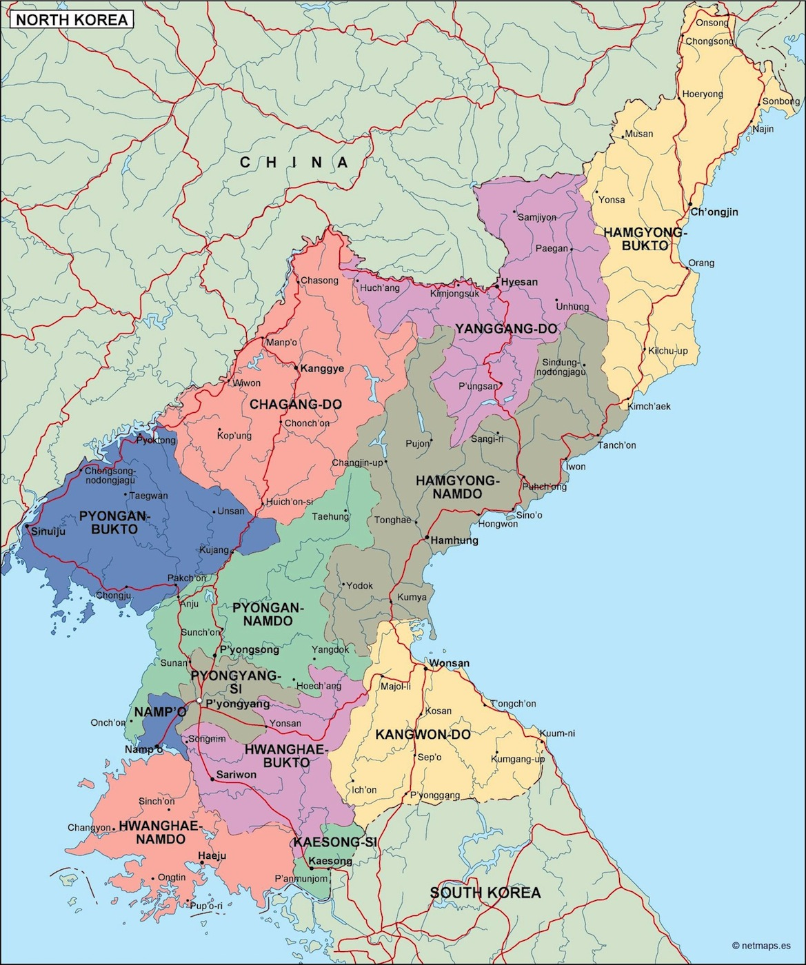 north korea political map Eps Illustrator Map Our cartographers