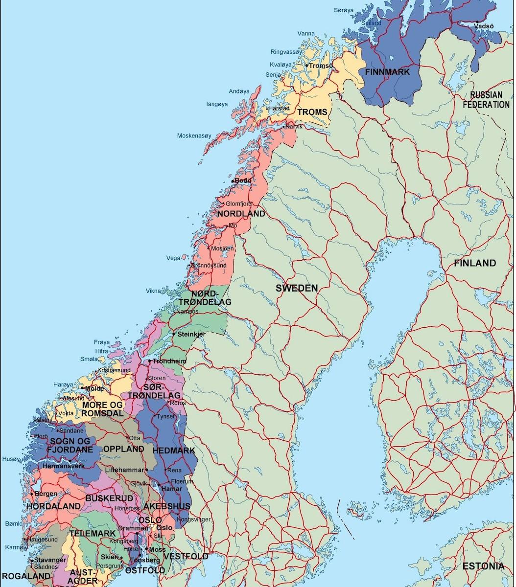 norway political map. Illustrator Vector Eps maps. Eps Illustrator ...