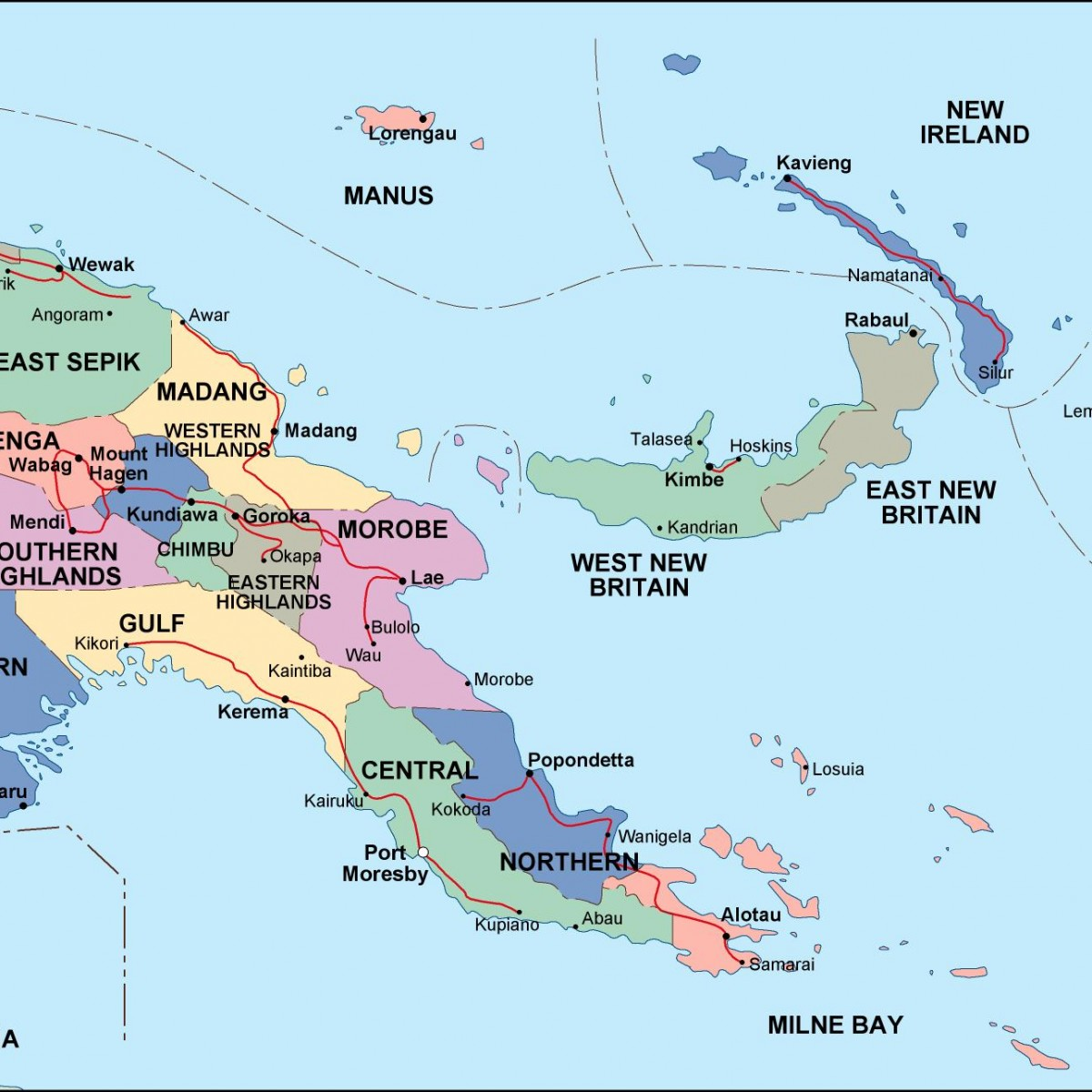 papua new guinea political map Eps Illustrator Map A vector eps