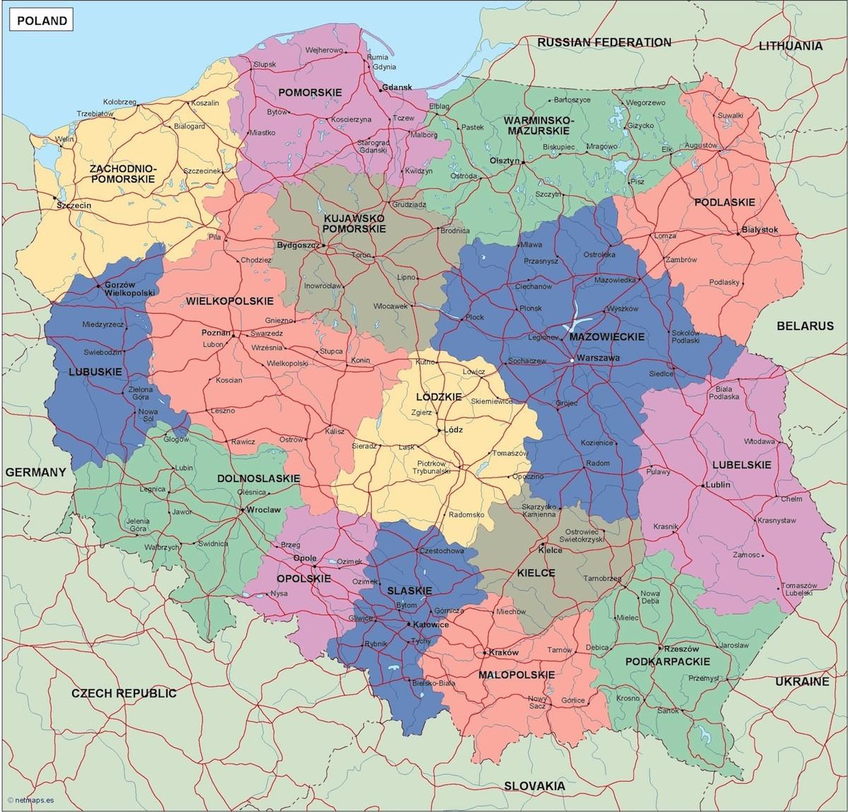 Poland Political Map Illustrator Vector Eps Maps Eps Illustrator - Poland political map