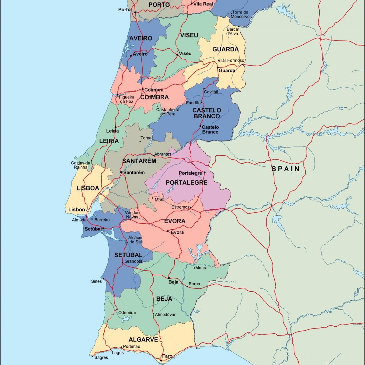 Image of: Portugal Political Map Illustrator Vector Eps Maps Eps Illustrator Map Vector World Maps