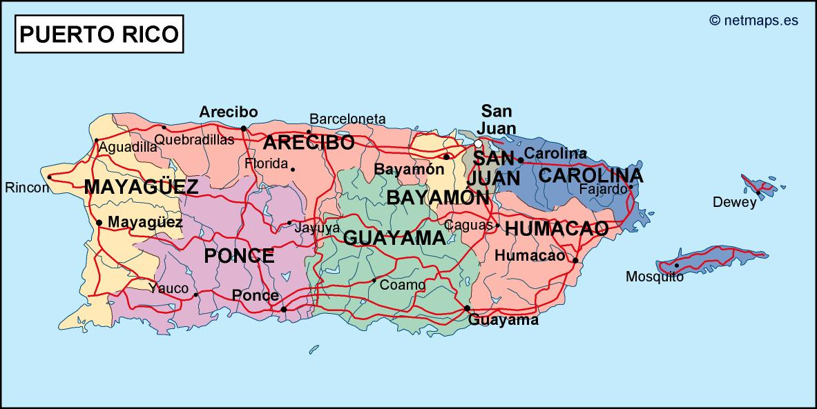 puerto rico political map. Eps Illustrator Map | Vector World Maps