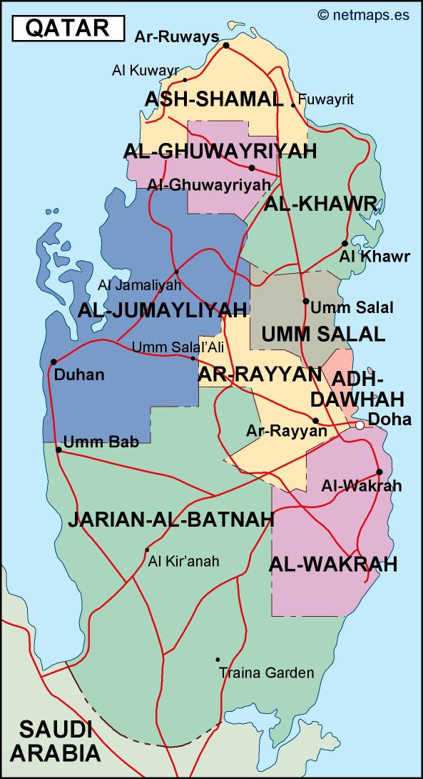 qatar political map on jordan on a map, arabian peninsula on a map, arabian sea on a map, middle east on a map, baghdad on a map, west bank on a map, gaza strip on a map, turkmenistan on a map, tunisia on a map, russia on a map, swaziland on a map, iran on a map, dead sea on a map, singapore on a map, kuwait on a map, bahrain on a map, palestine on a map, turkey on a map, cyprus on a map, kirkuk on a map,