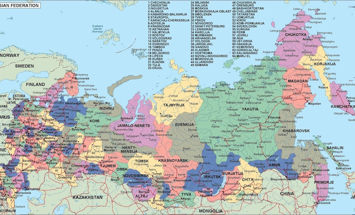 russia political map. Illustrator Vector Eps maps. Eps Illustrator ...