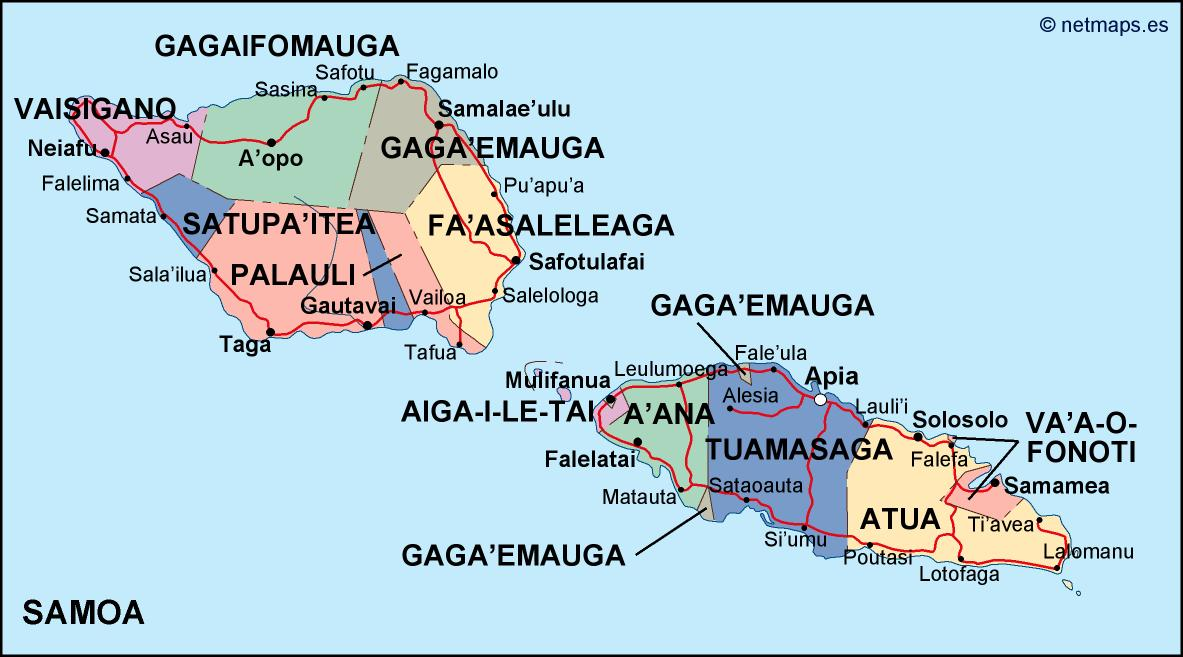samoa political map Eps Illustrator Map Our cartographers have