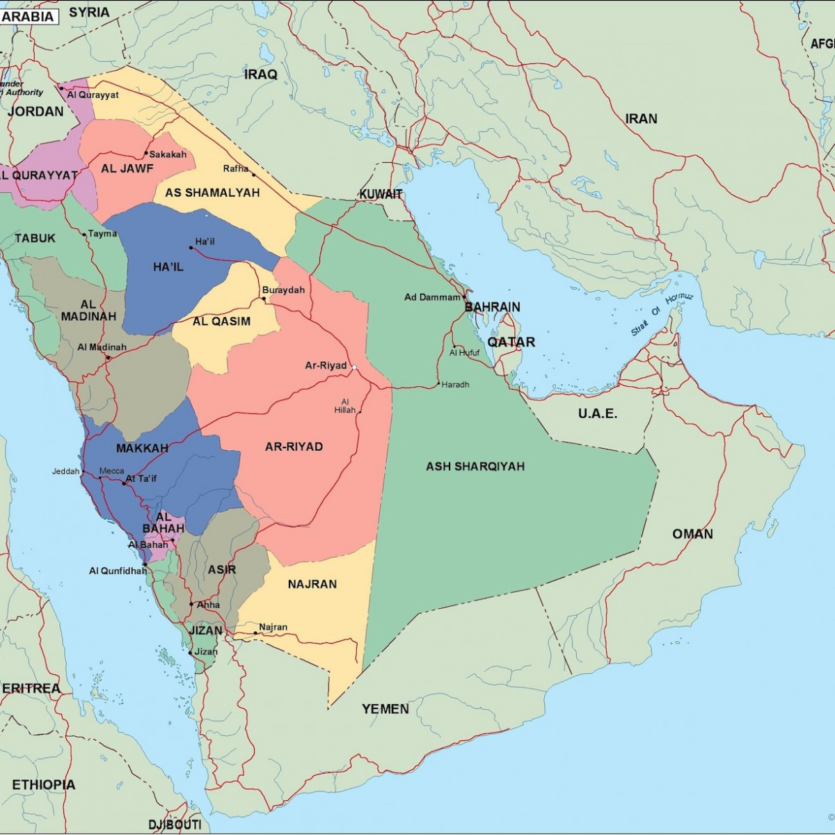 saudi arabia political map. Eps Illustrator Map | Vector World Maps