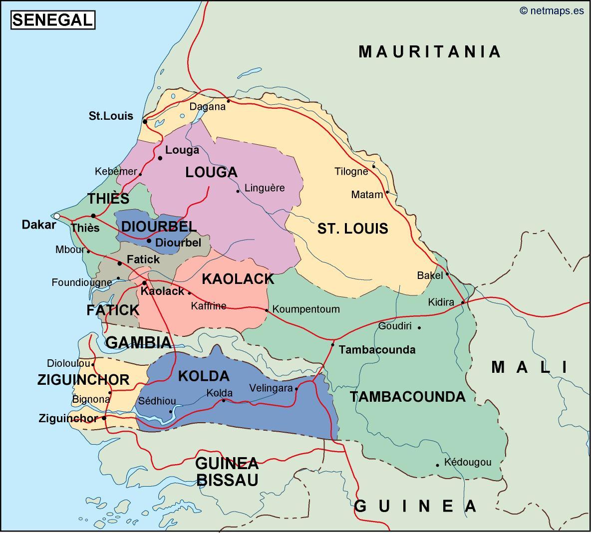 Senegal Political Map Vector Eps Maps Eps Illustrator Map