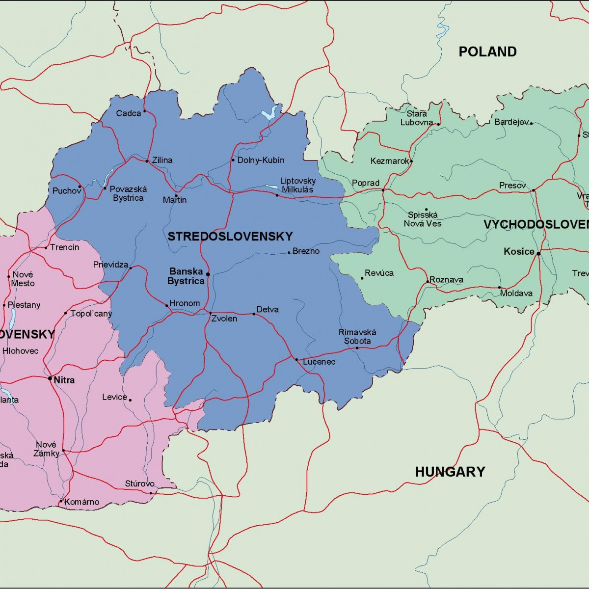 slovakia political map. Illustrator Vector Eps maps. Eps Illustrator ...