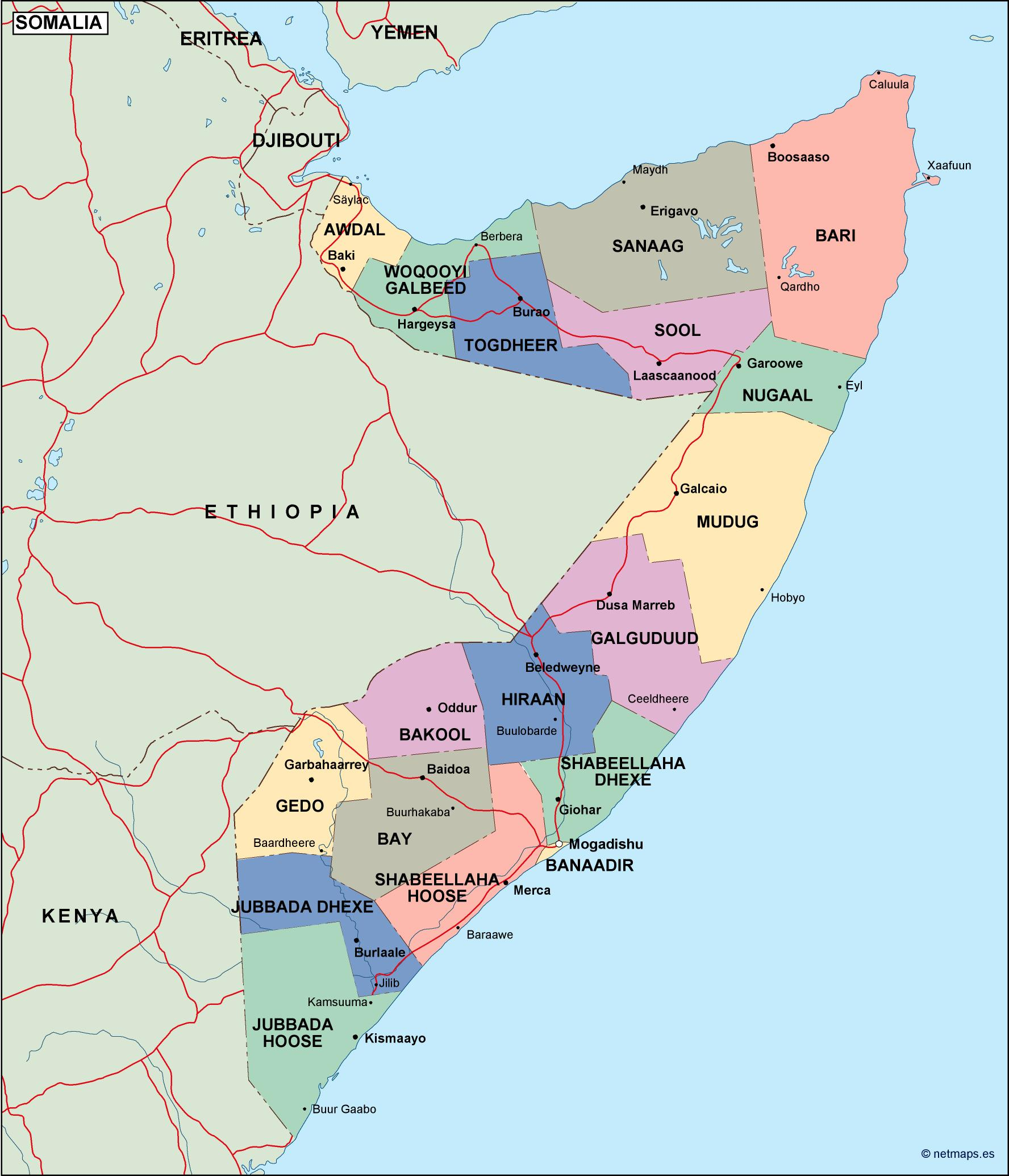somalia political map Vector Eps maps Eps Illustrator Map Our