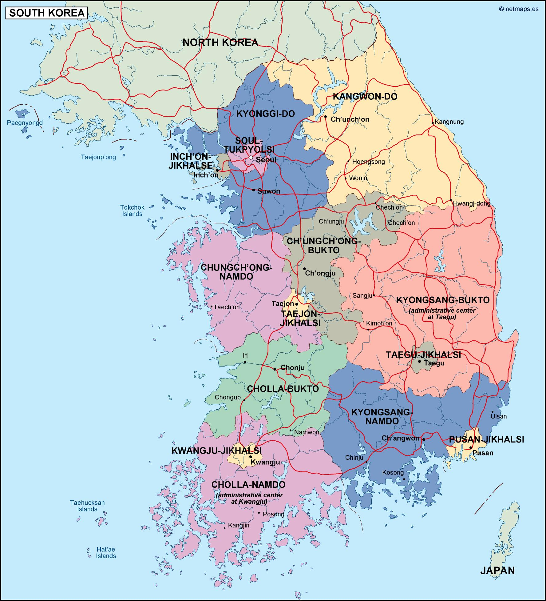 Picture of: South Korea Political Map Eps Illustrator Map Vector World Maps