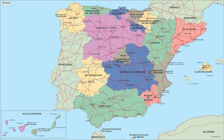 EPS maps Spain Vector Wall Maps from Netmaps Made in Barcelona