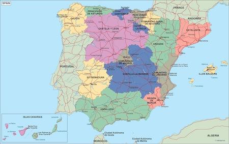 Map Of Spain Political.Spain Political Map