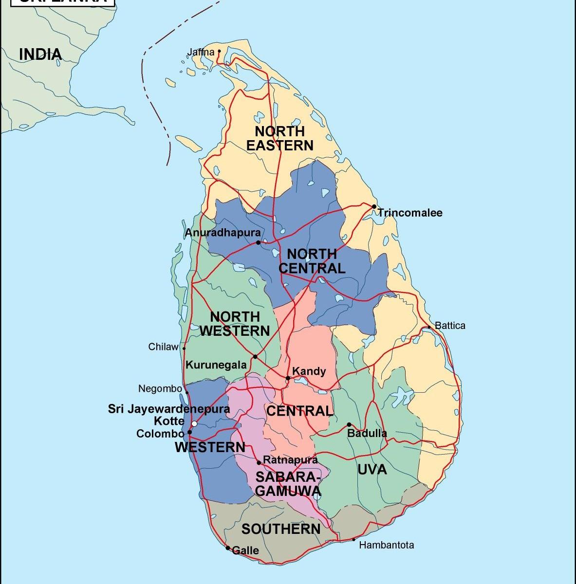 Srilanka political map eps illustrator map a vector eps maps srilanka political map gumiabroncs Images