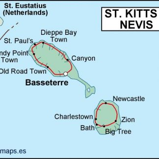 st kitts and nevis political map. Eps Illustrator Map
