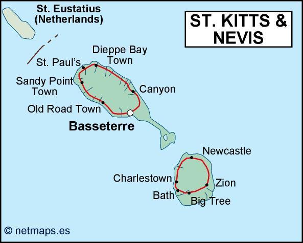 st kitts and nevis political map. Eps Illustrator Map | Vector World ...