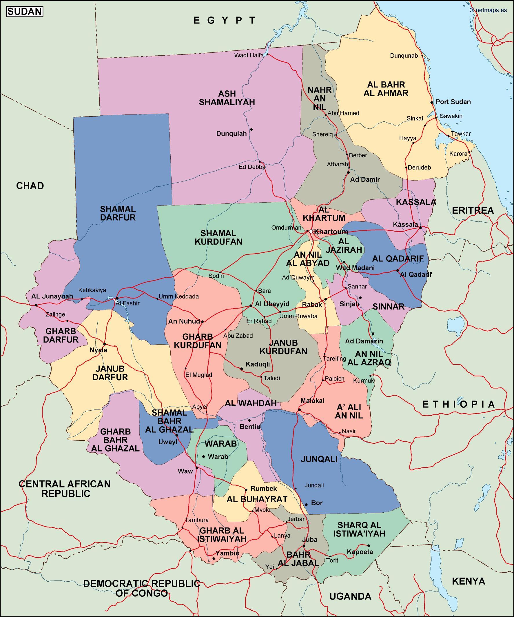 sudan political map Vector Eps maps Eps Illustrator Map A vector