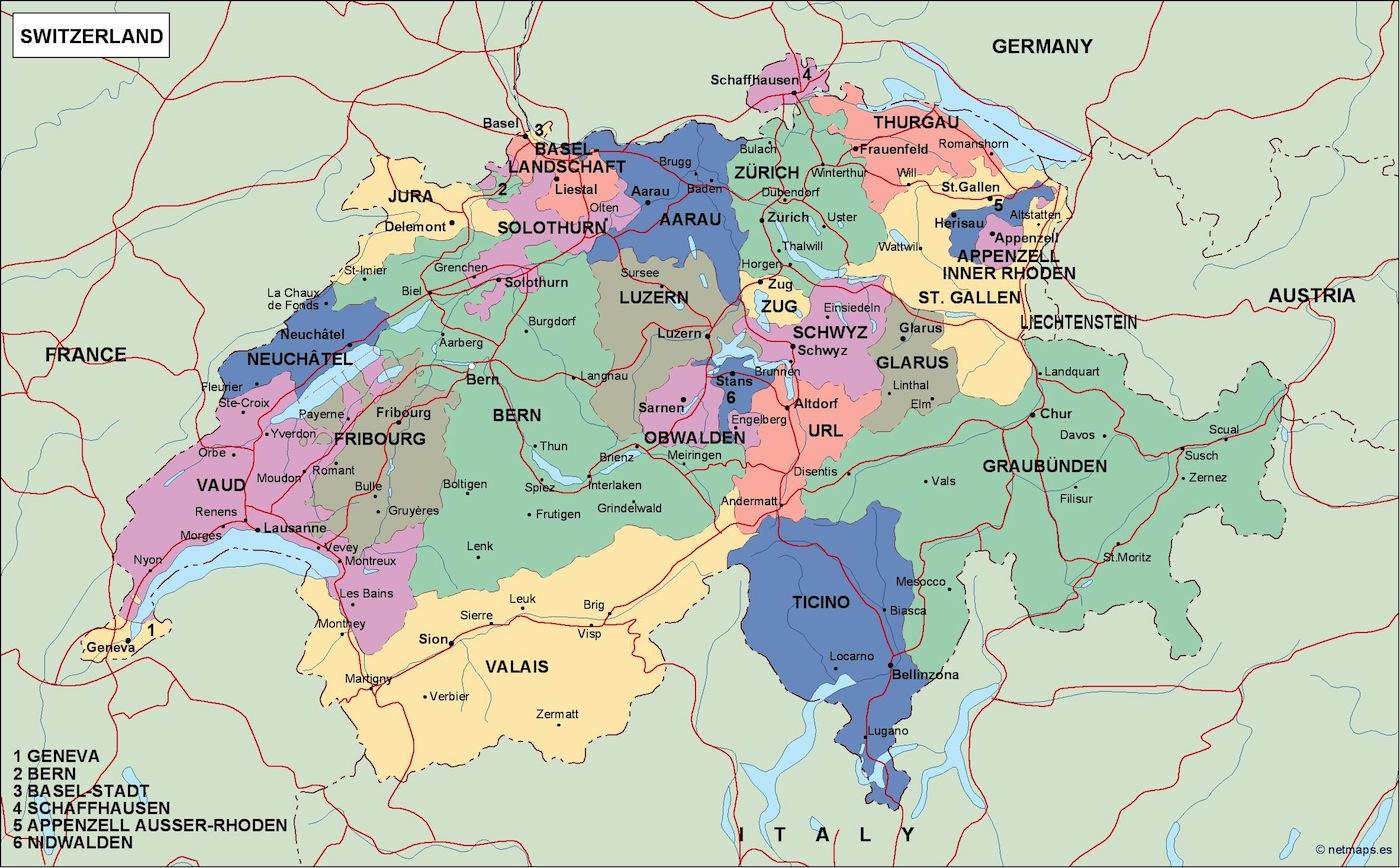 switzerland political map Illustrator Vector Eps maps Eps