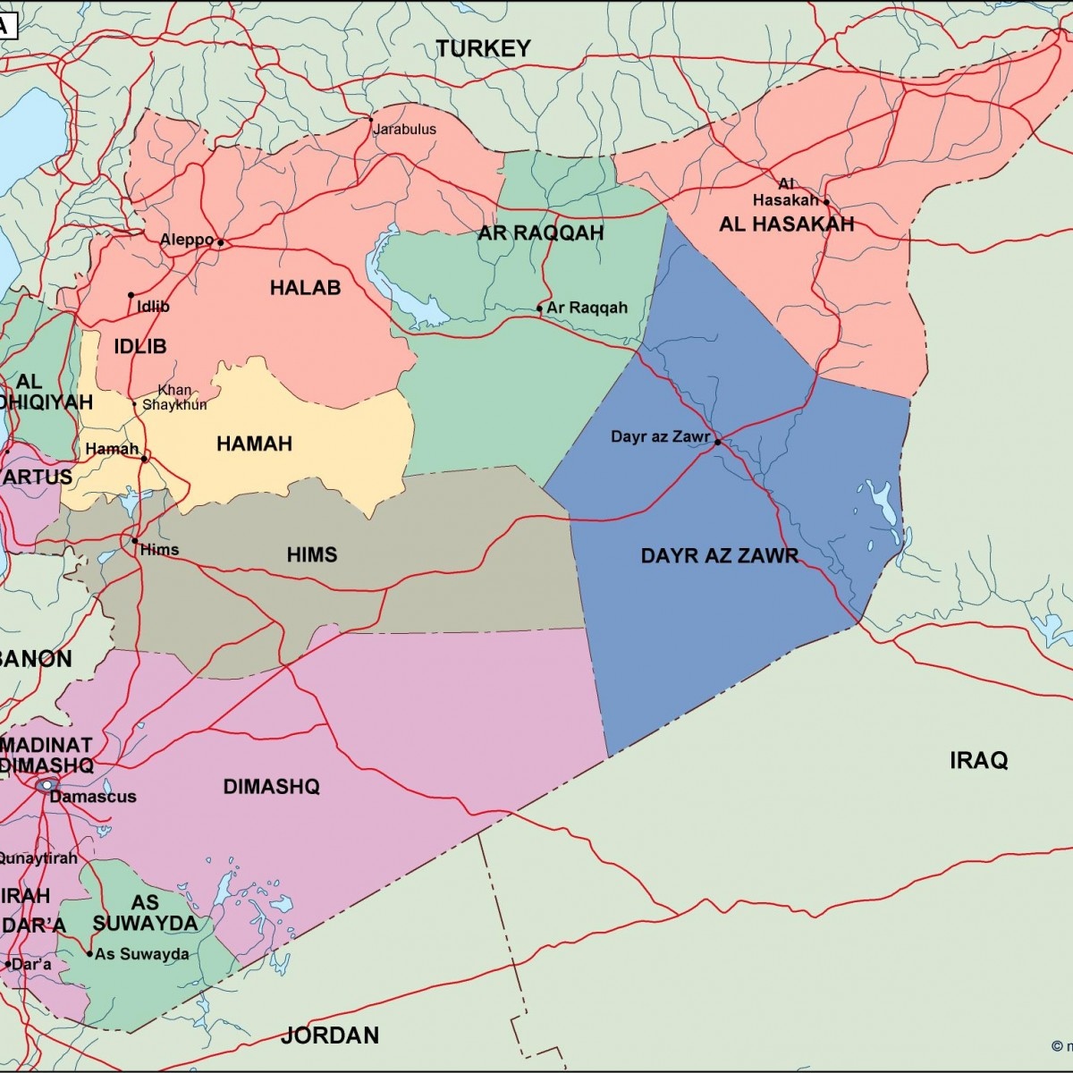 Syria political map eps illustrator map our cartographers have syria political map gumiabroncs Gallery