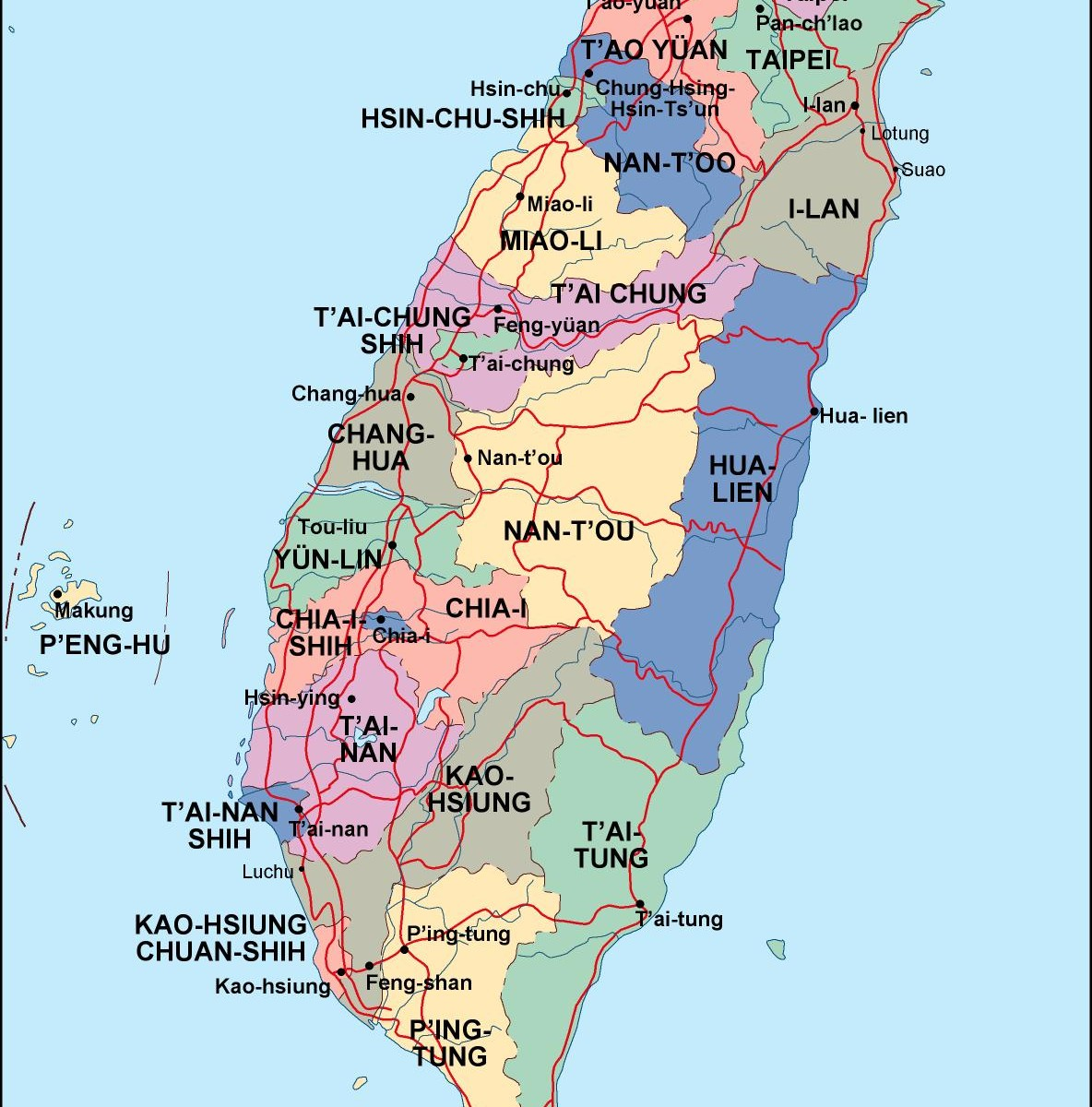 Taiwan political map eps illustrator map a vector eps maps taiwan political map gumiabroncs Choice Image