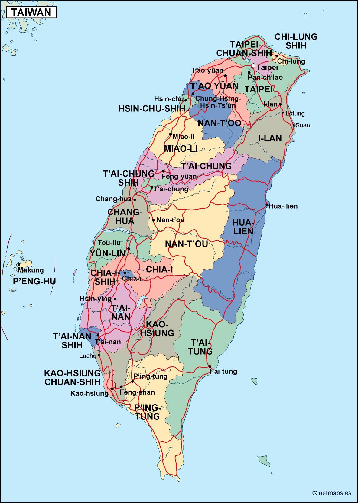 Taiwan Political Map Eps Illustrator
