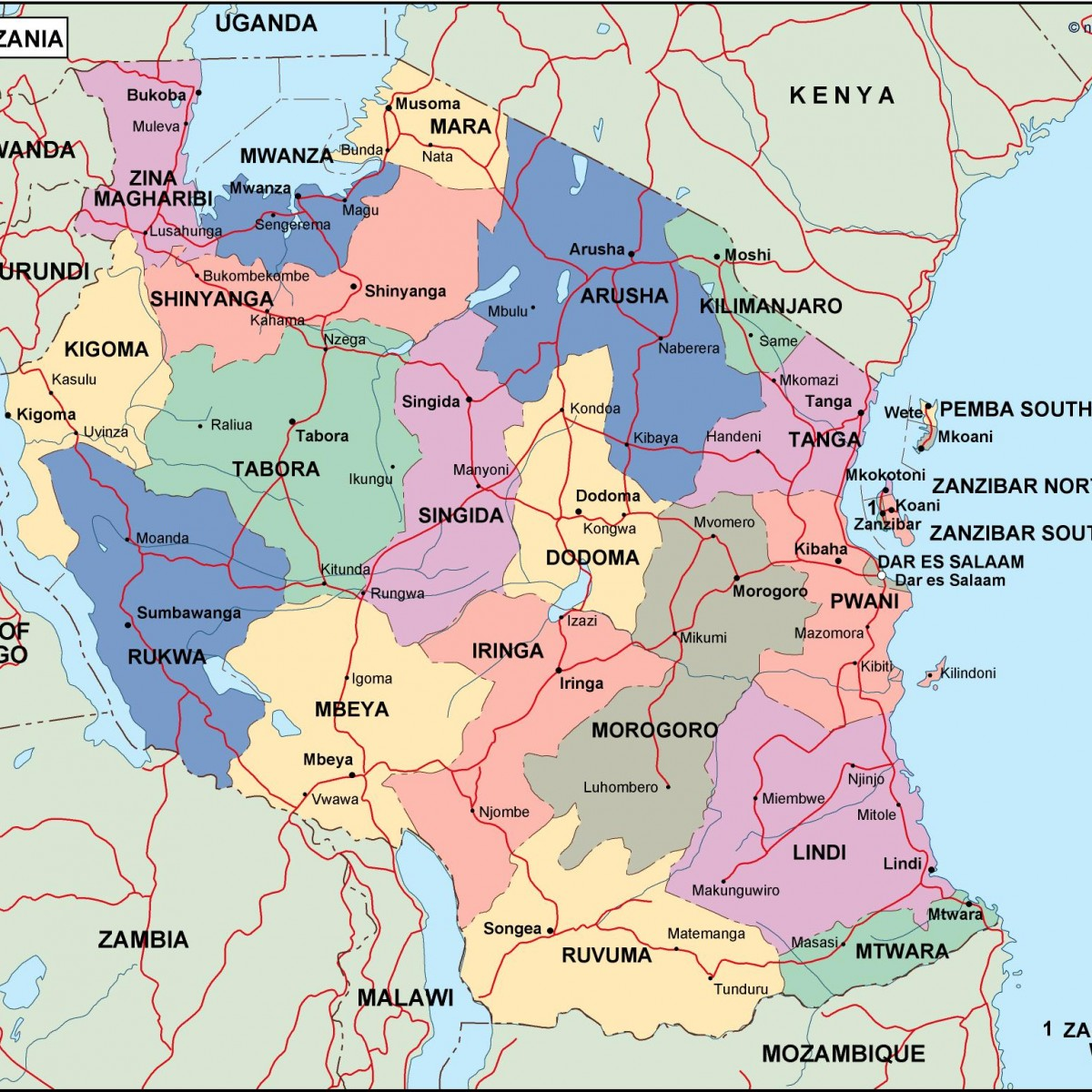 tanzania political map Vector Eps maps Eps Illustrator Map Our