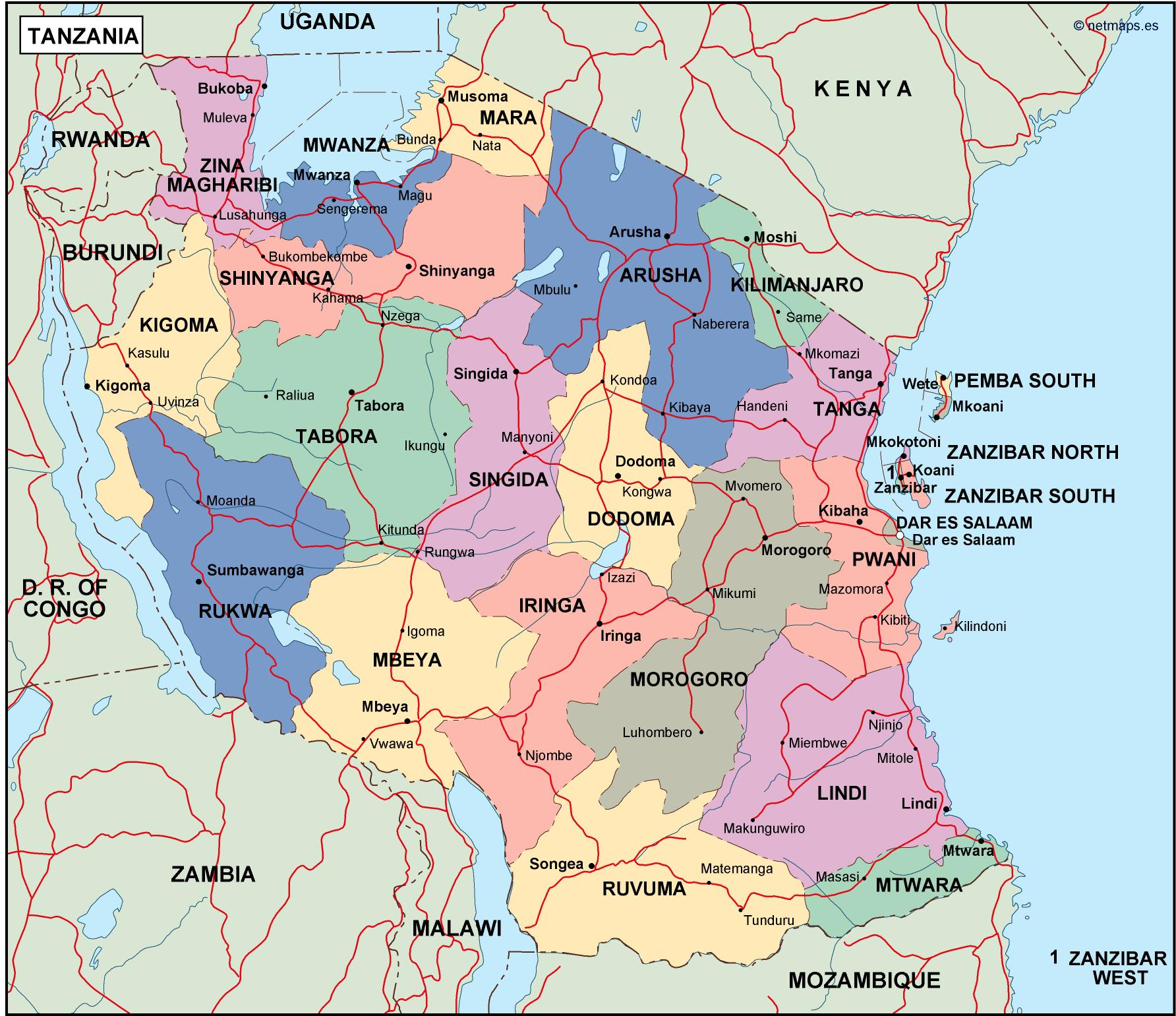 Picture of: Tanzania Political Map Vector Eps Maps Eps Illustrator Map Vector World Maps