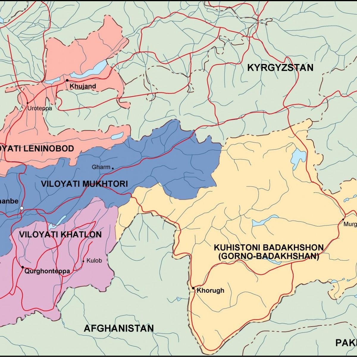 tayijistan political map. Eps Illustrator Map | Vector World Maps on