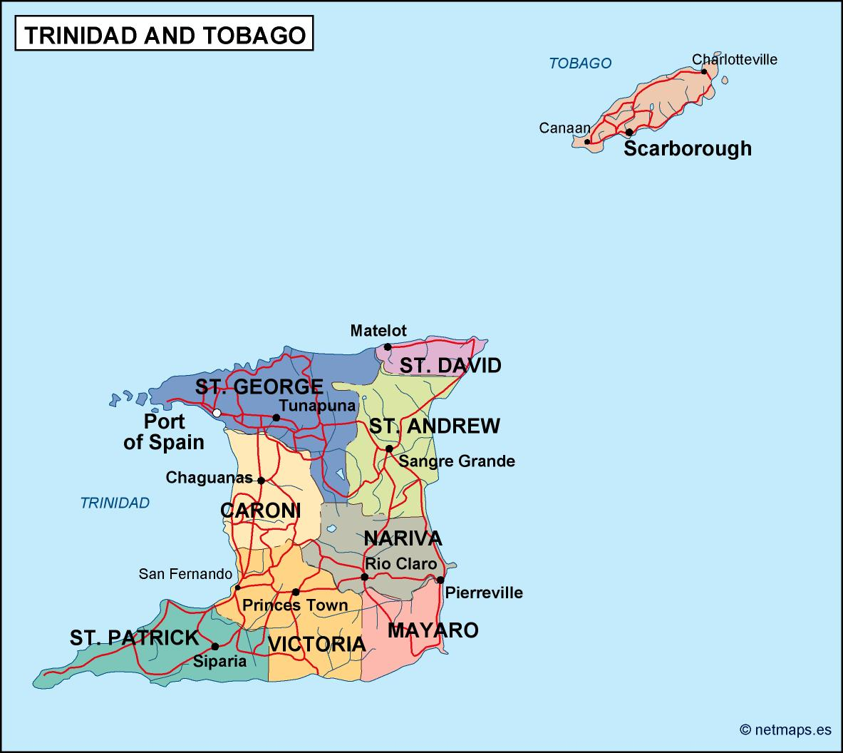 Image of: Trinidad And Tobago Political Map Eps Illustrator Map Vector World Maps