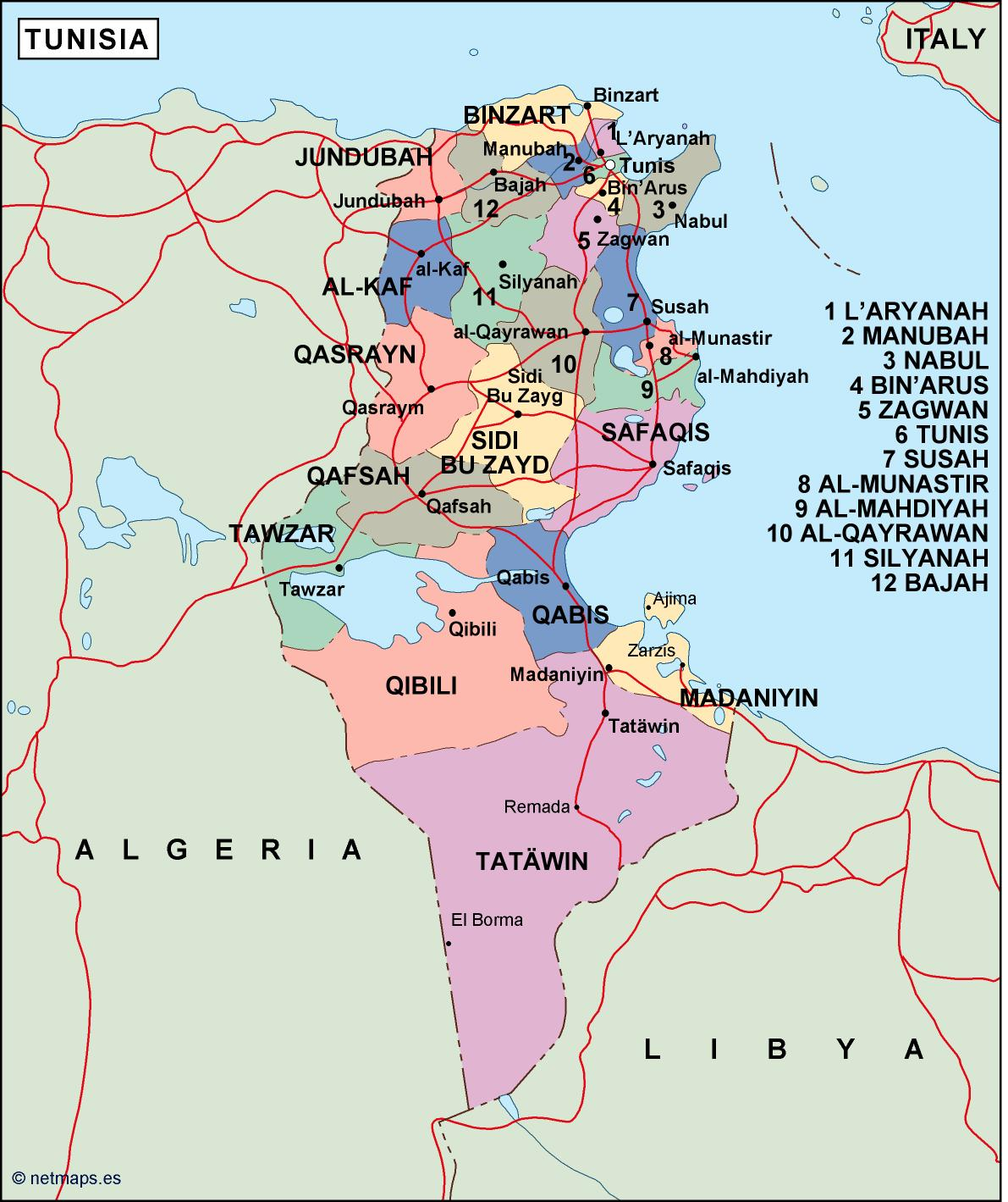Find Tunisia Political Map Vector Eps Maps Eps