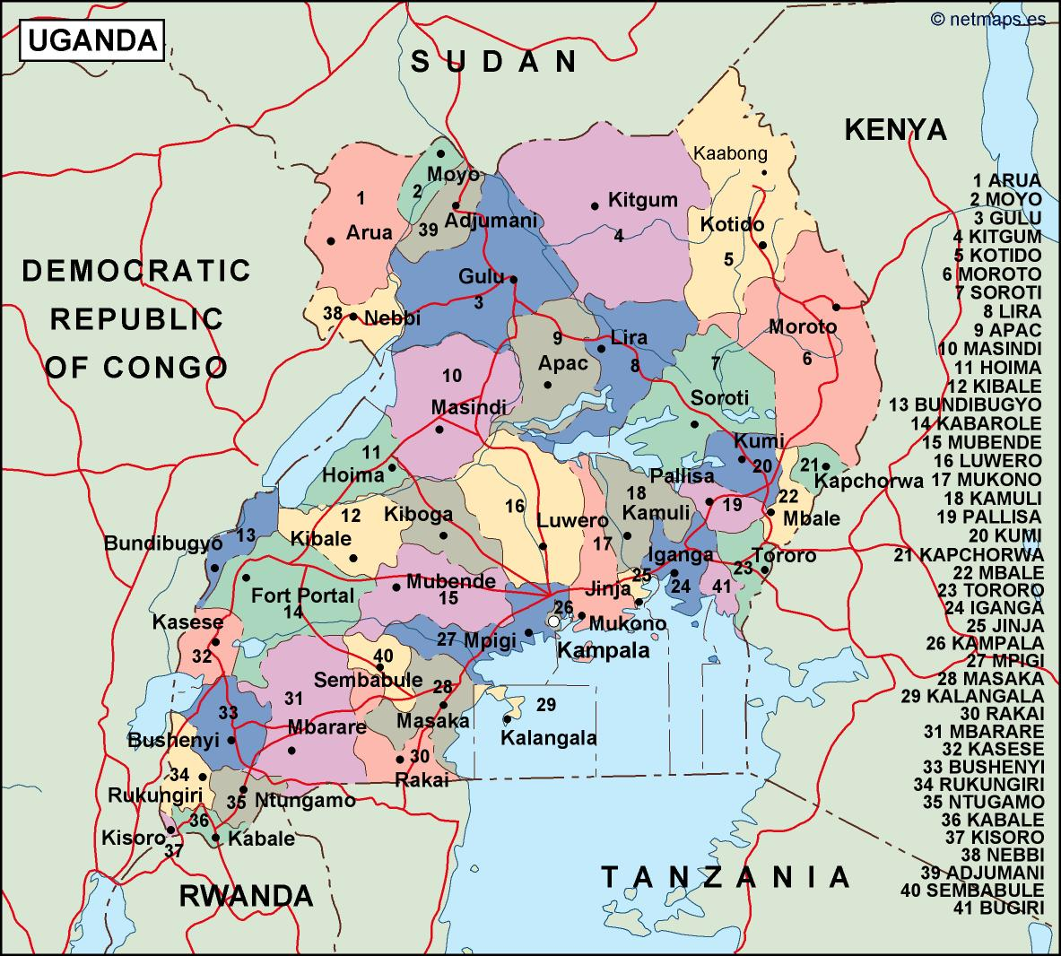 uganda political map Vector Eps maps Eps Illustrator Map Our