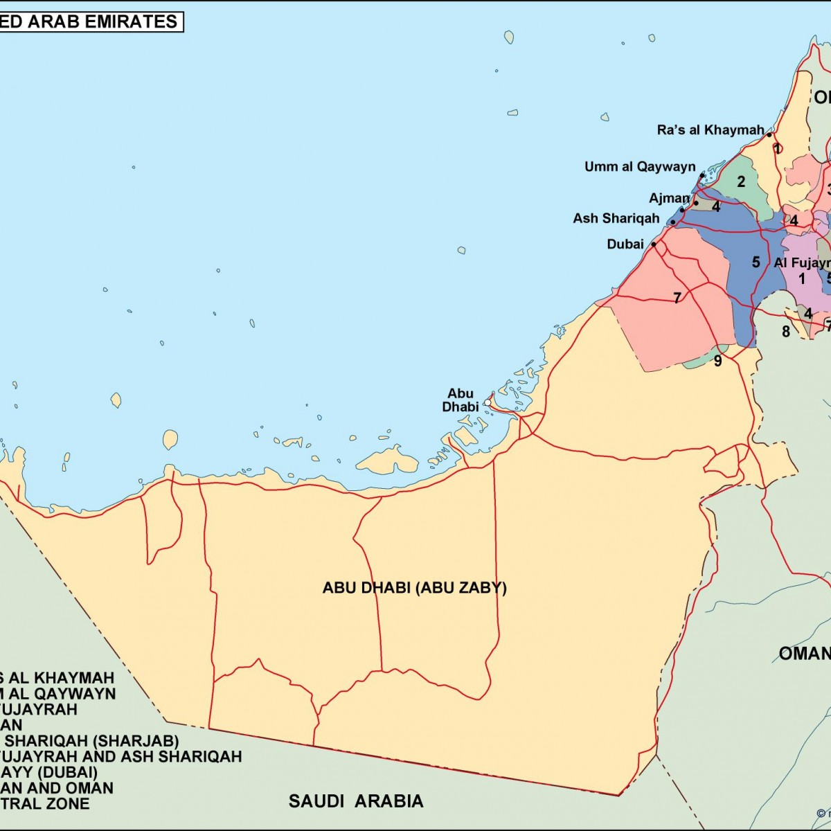 united arab emirates political map. Eps Illustrator Map ...