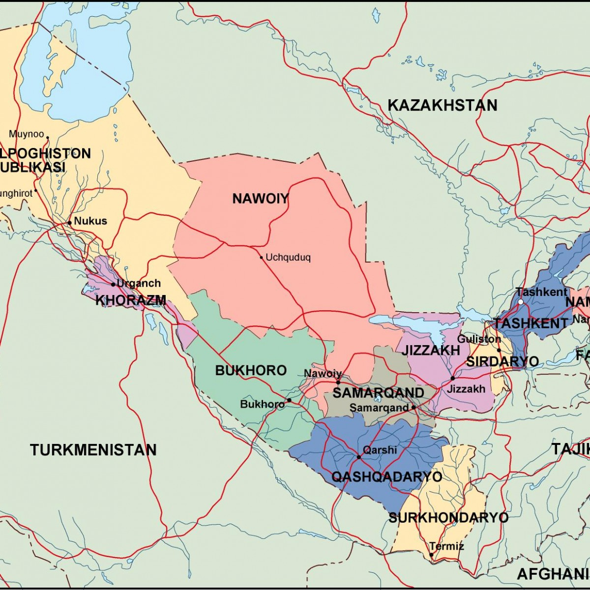uzbekistan political map Eps Illustrator Map Our cartographers