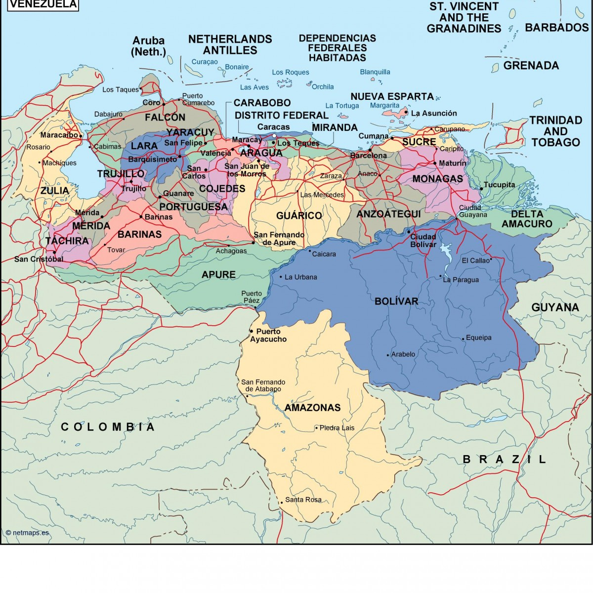 venezuela political map. Eps Illustrator Map   Vector World Maps