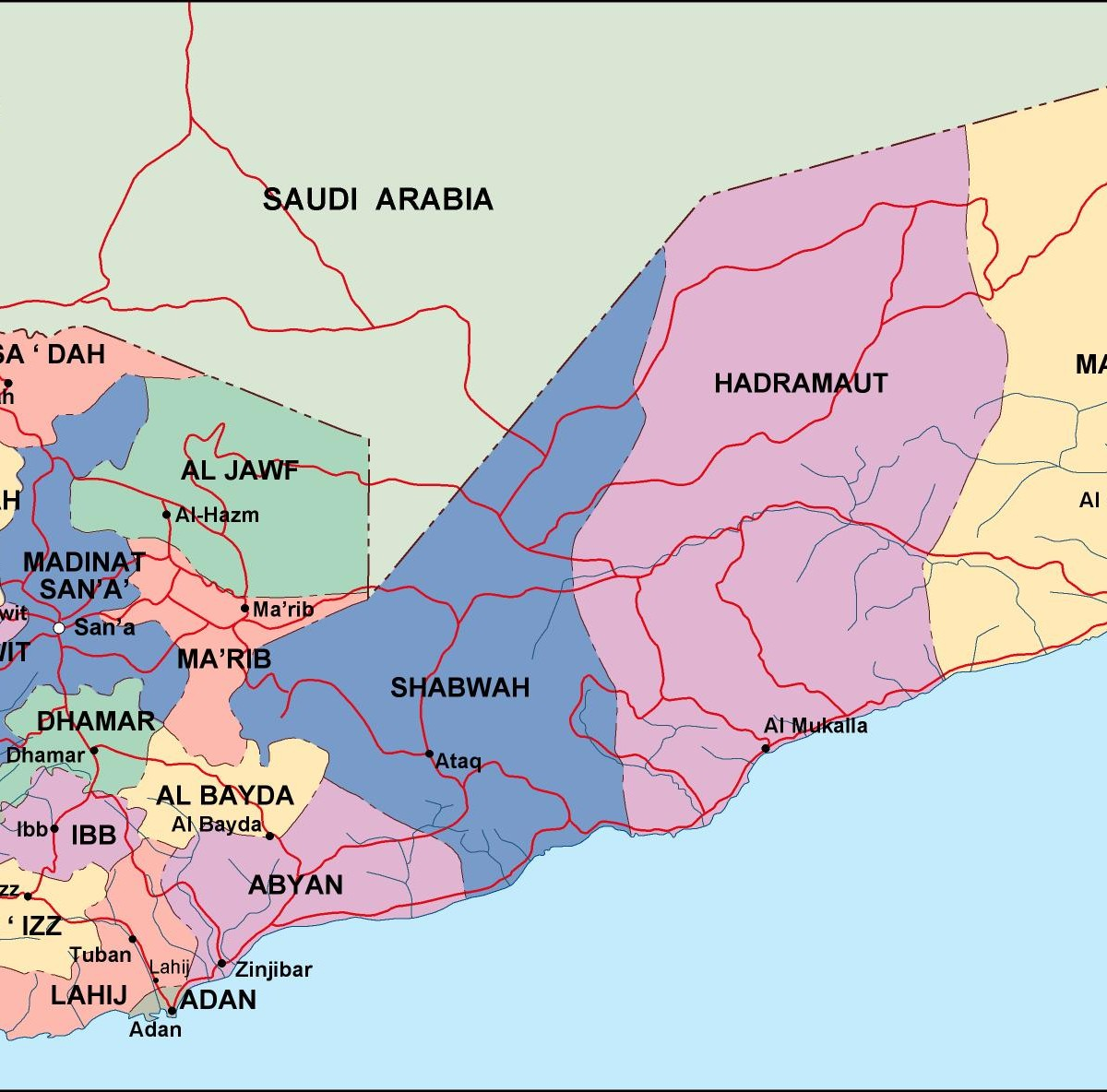 yemen political map Eps Illustrator Map Our cartographers have