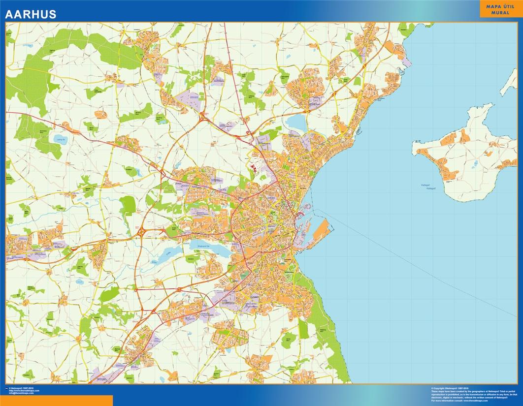 Aarhus Kort Eps Illustrator Map Vector World Maps