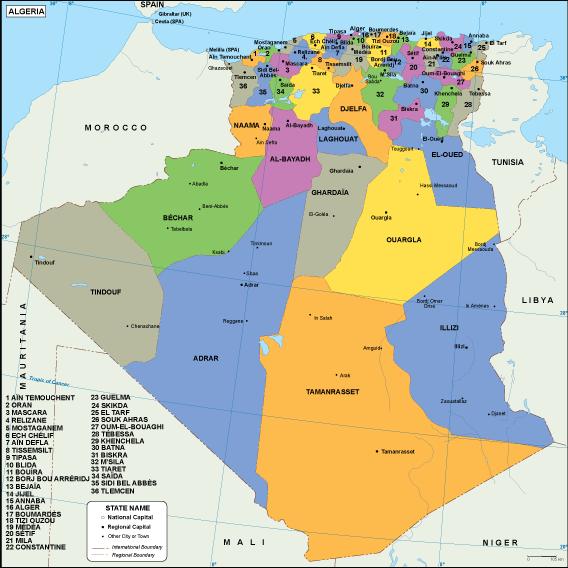 Carte Algeria Vector.Algeria Eps Map