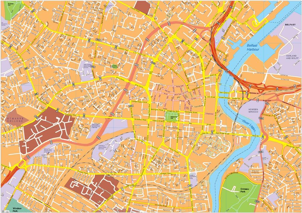 Belfast vector map. EPS Illustrator Map | A vector eps maps designed ...