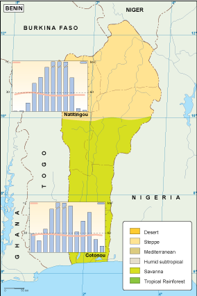 Benin climate map EPS Illustrator Map Our cartographers have made
