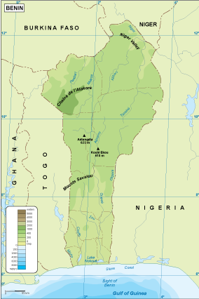 Benin physical map EPS Illustrator Map Our cartographers have