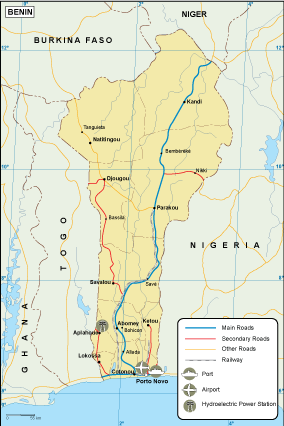 Benin transportation map