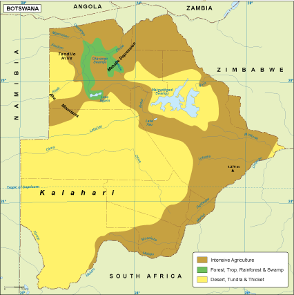 Map Of Africa Vegetation.Botswana Vegetation Map
