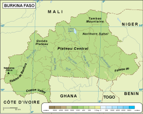Burkina Faso physical map