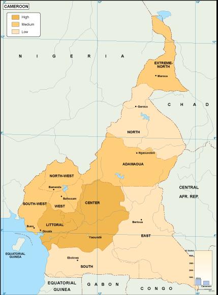 Cameroon economic map. EPS Illustrator Map | Vector World Maps on