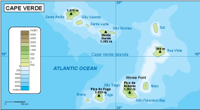 Cape Verde physical map