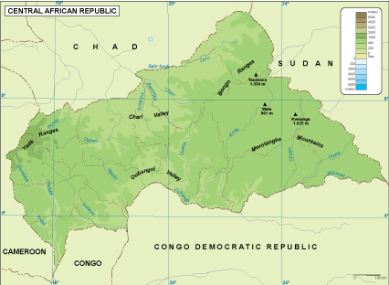 Central African Rep physical map EPS Illustrator Map Our