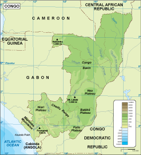 Congo physical map EPS Illustrator Map Our cartographers have